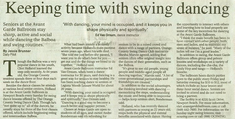 Keeping time with swing dancing